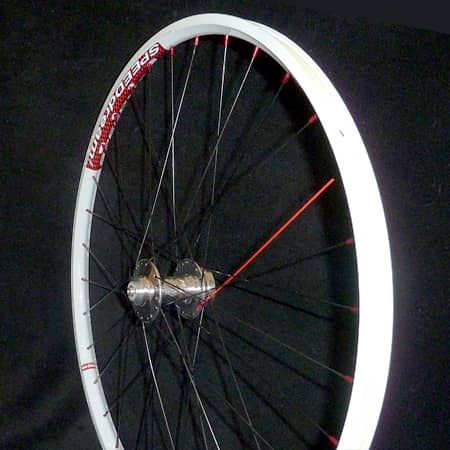 Mountain Wheel with white rim and red spokes